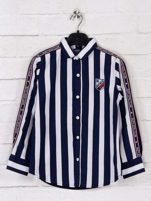 Ruff Stripe Navy And White Shirt