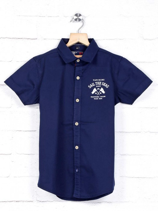 Ruff Strong Navy Cotton Solid Shirt