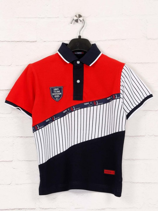 Ruff White And Red Stripe Polo T-shirt
