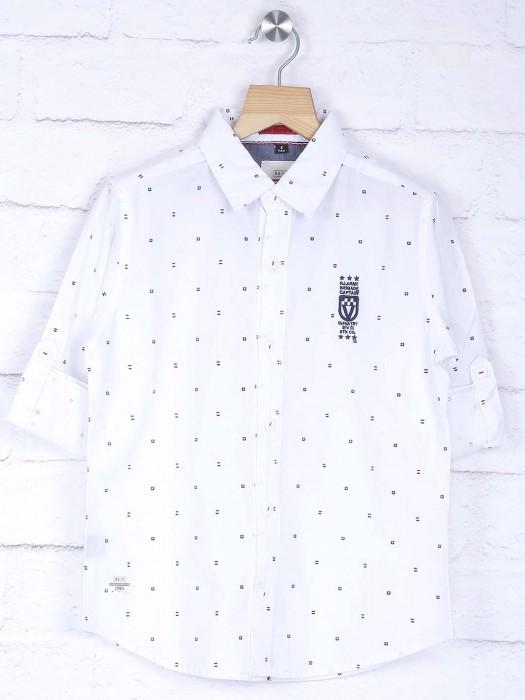 Ruff White Hue Printed Pattern Shirt
