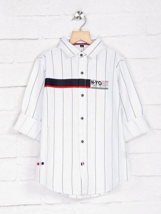 Ruff White Stripe Full Buttoned Placket Shirt
