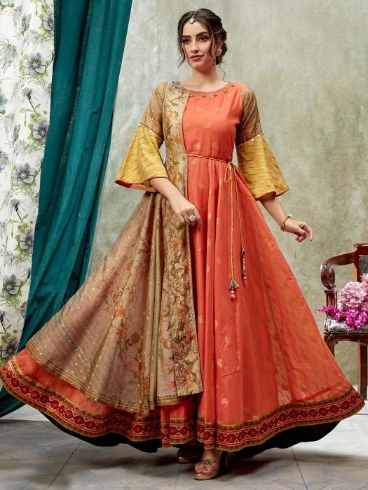 Rust Orange Cotton Silk Printed Anarkali Kurti