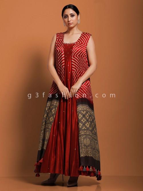 Rust Orange Wedding Jacket Style Designer Anarkali Suit