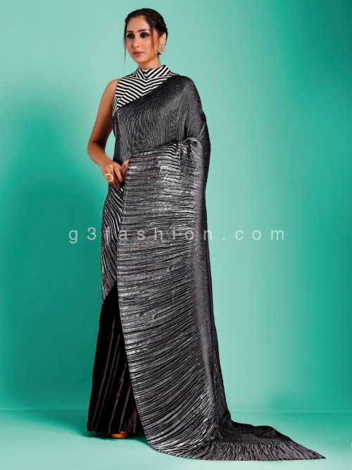 Exclusive Grey Designer Crush Satin Saree With Stripe Readymade Blouse