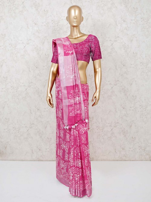 Saree In Pink Cotton Printed