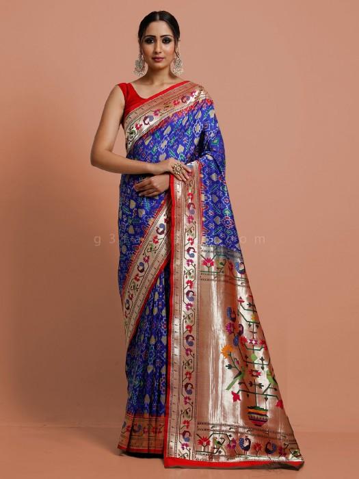 Saree In Royal Blue Patola Paithani