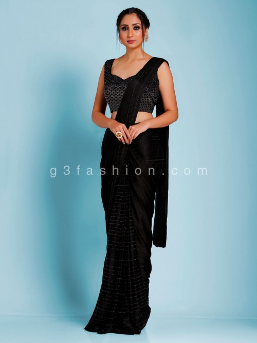 Black Satin Party Wear Swaroski Work Reday To Wear Saree