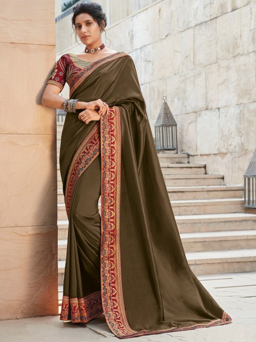 Satin Olive Saree For Upcoming Weddings