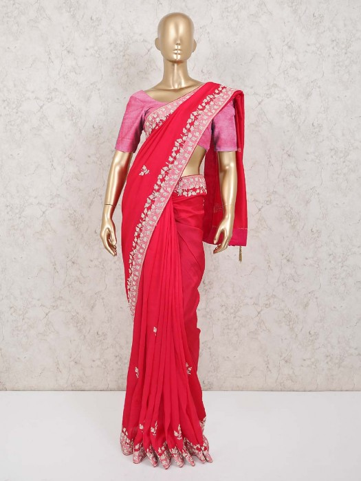 Satin Pink Designer Saree In Wedding