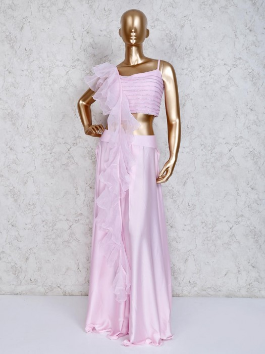 Satin Pink Party Wear Indo Western Palazzo Suit