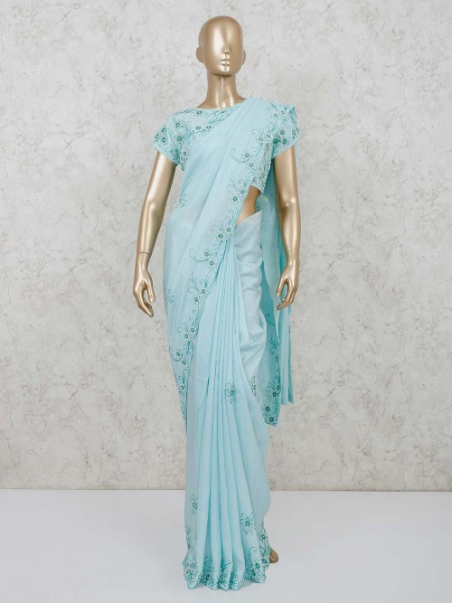 Satin Sky Blue Party Saree With Readymade Blouse