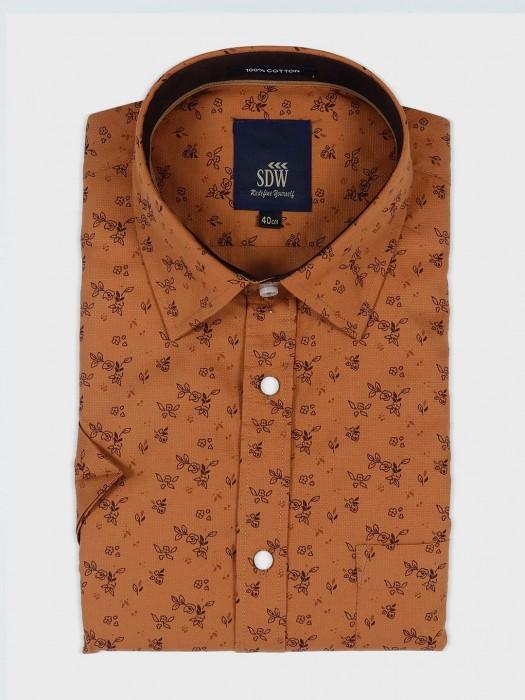 SDW Brown Printed Cotton Shirt