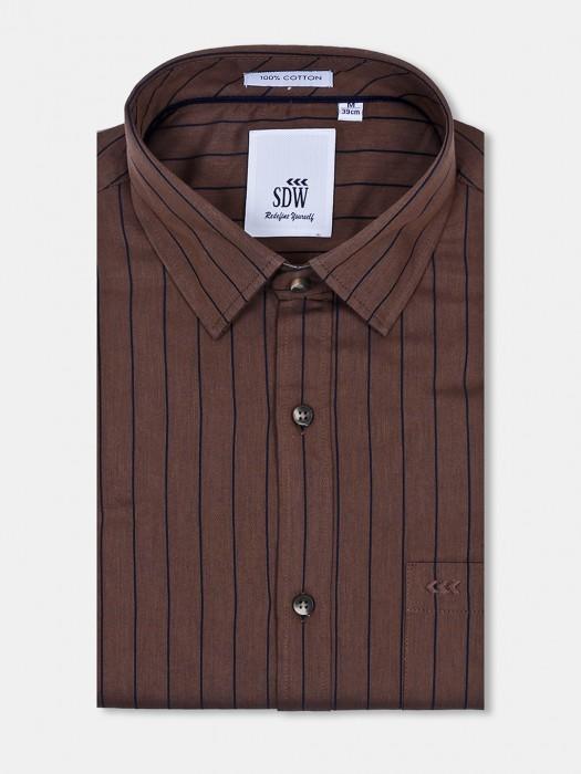 SDW Coffee Brown Stripe Pattern Shirt