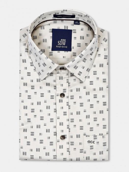 SDW Cream Printed Patch Pocket Shirt