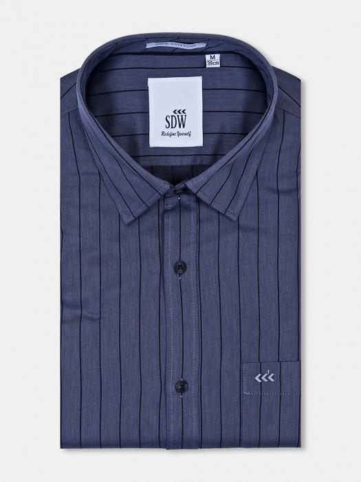 SDW Grey Color Stripe Formal Wear Shirt