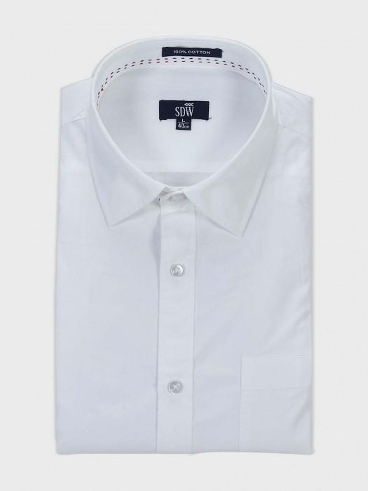 SDW Ivory White Hued Solid Cotton Shirt
