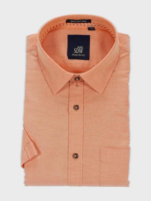SDW Mens Solid Peach Color Shirt
