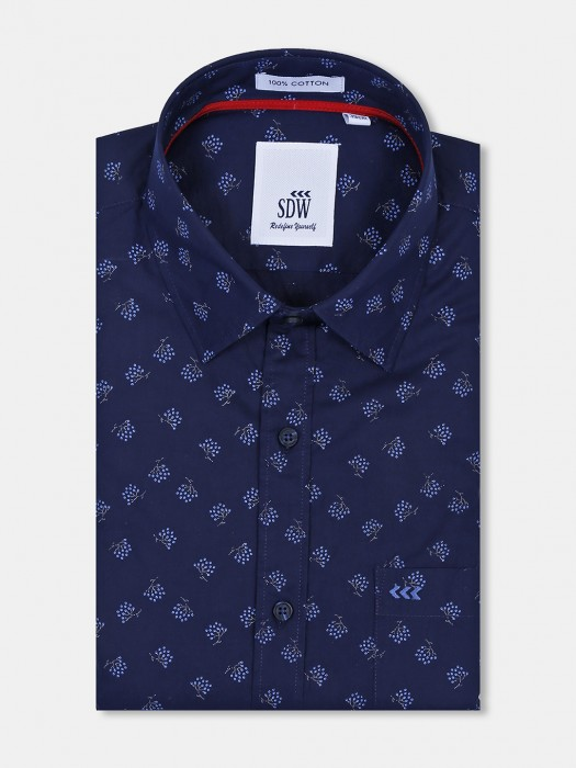 SDW Navy Color Printed Formal Shirt