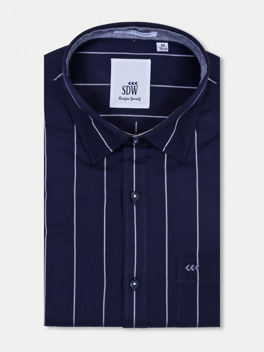 SDW Navy Color Stripe Full Sleeves Shirt