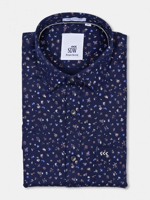 SDW Navy Printed Full Sleeves Cotton Shirt