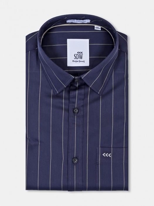 SDW Presented Navy Color Stripe Shirt
