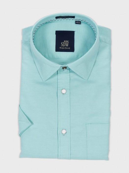 SDW Sea Green Solid Slim Fit Shirt