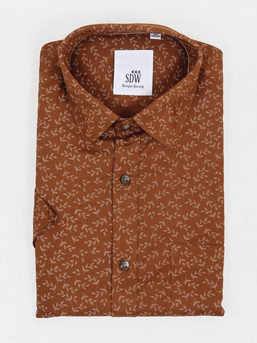 SDW Slim Fit Printed Rust Orange Color Shirt