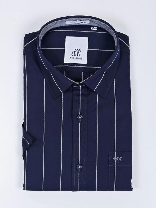 SDW Stripe Pattern Navy Half Sleeves Shirt