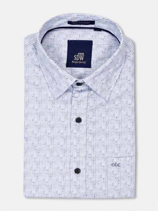 SDW White Printed Pattern Cut Away Collar Shirt