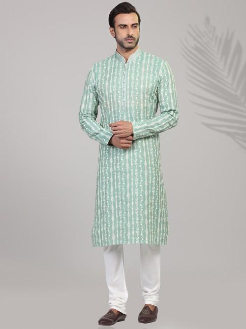 Sea Green Chikan Embroidared Cotton Kurta Suit
