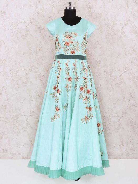 Sea Green Colored Cotton Silk Anarkali Suit