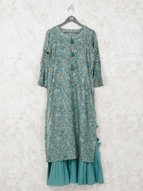 Sea Green Cotton Festive Function Kurti