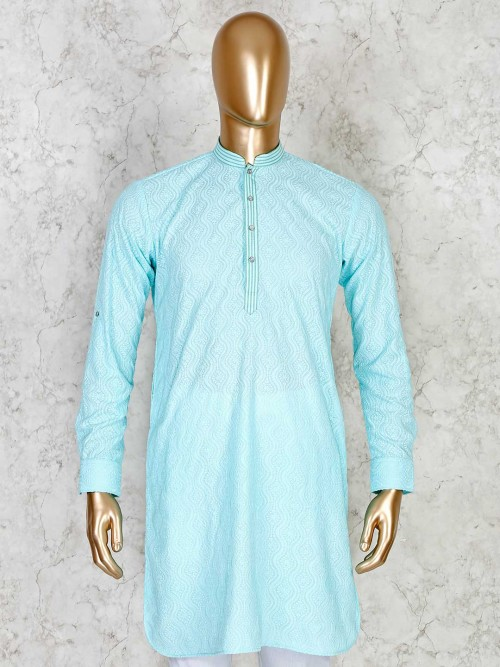 Aqua Cotton Short Pathani With Chikan Work For Festive