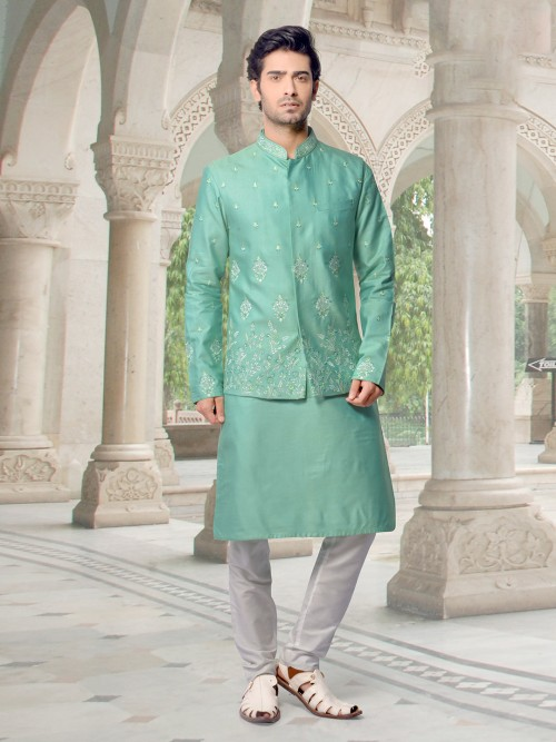 Sea Green Cotton Silk Jacket Kurta Suit For Party
