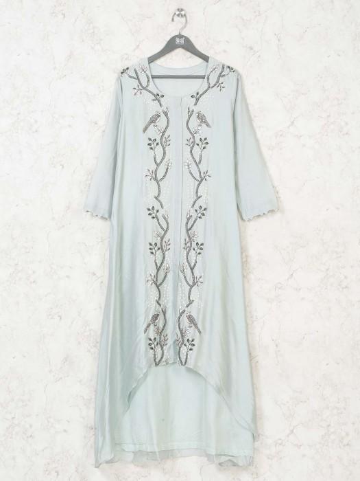 Sea Green Cotton Silk Kurti In Festive
