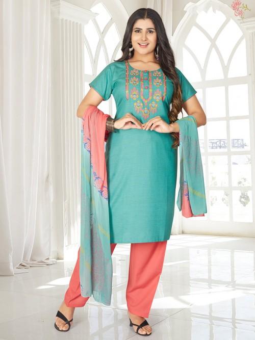 Sea Green Round Neck Punjabi Salwar Suit