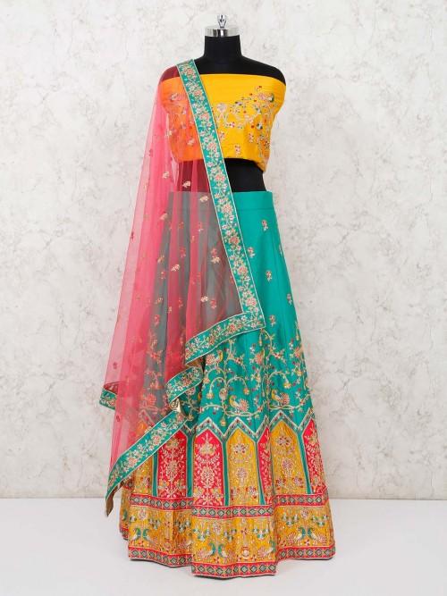 Sea Green Semi Stitched Art Silk Lehenga With Yellow Blouse And Red Dupatta