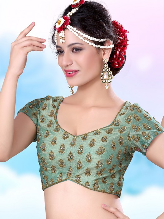 See Green Designer Ready Made Blouse