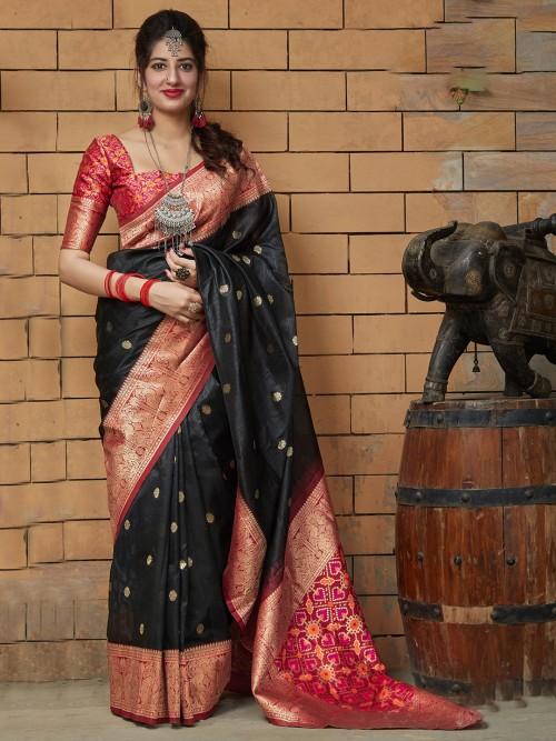 Semi Silk Black Saree For Festive Wear