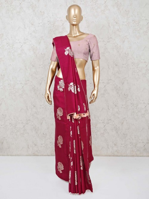 Semi Silk Maroon Wedding Days Saree