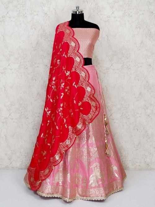 Semi Stitched Baby Pink Banarasi Silk Lehenga With Red Dupatta