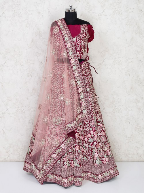 Semi Stitched Maroon Silk Lehenga For Wedding Bride