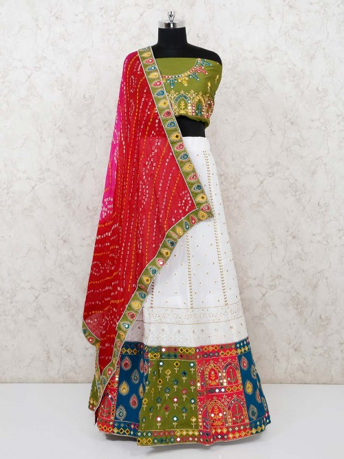 Semi Stitched Navaratri Lehenga With Bandhej Dupatta
