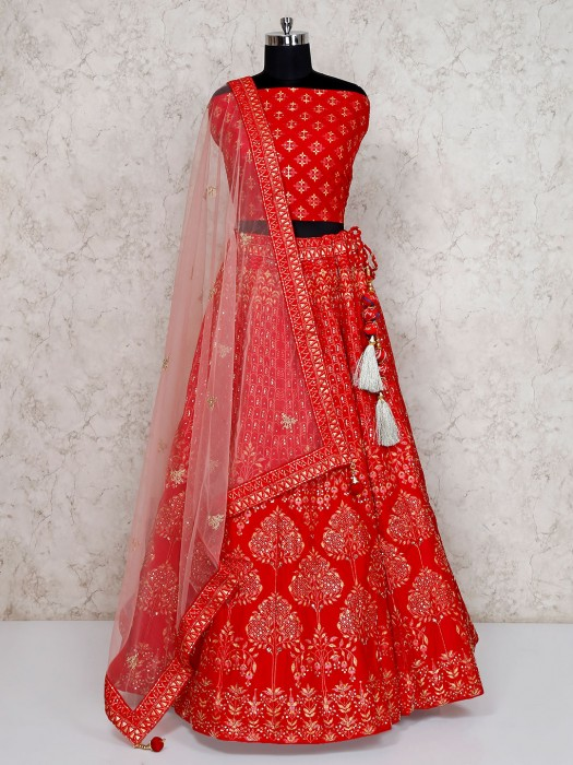 Semi Stitched Red Bridal Wear Lehenga Choli In Silk