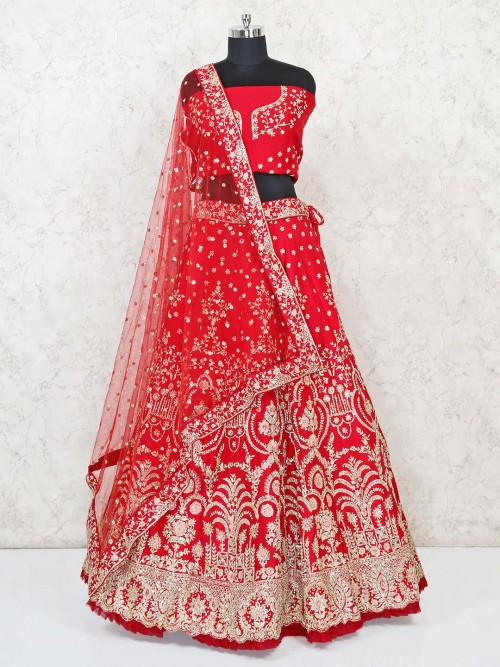 Semi Stitched Red Silk Designer Lehenga Choli Wedding Wear