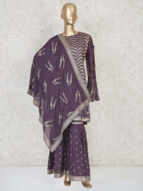 Sharara Suit In The Purple Color