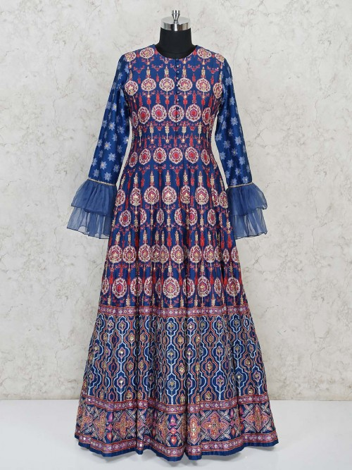 Silk Anarkali Printed Suit With Ruffle Sleeves In Blue Color