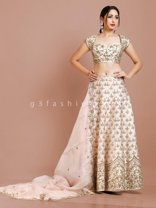 Silk Bridal Lehenga Choli Design In Cream
