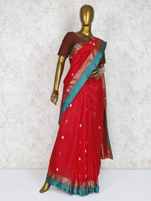 Silk Fabric Red Hue Wedding Wear Saree