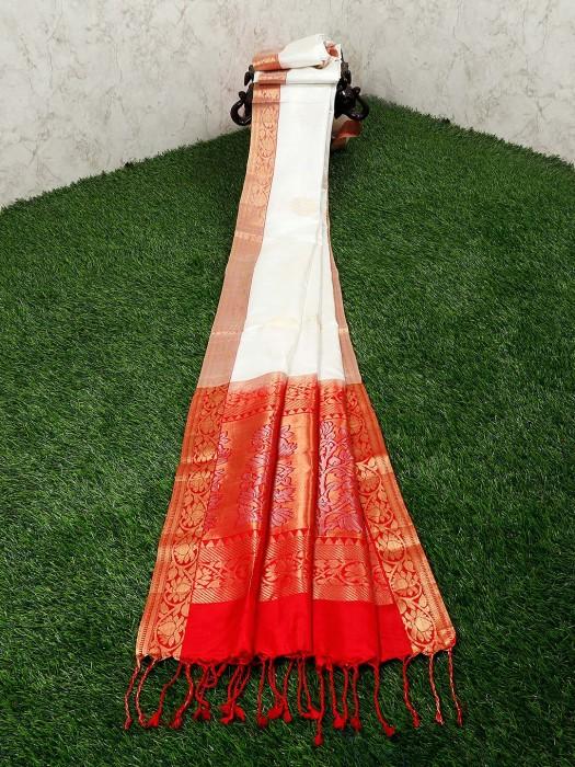 Silk Fabric White Color Saree